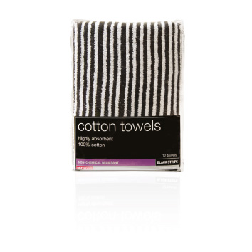 Salon Service Tinting Towel 12 pack, Black & White Stripe