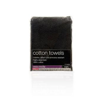 Salon Services Bleach Resistant Towel Black Pack of 12